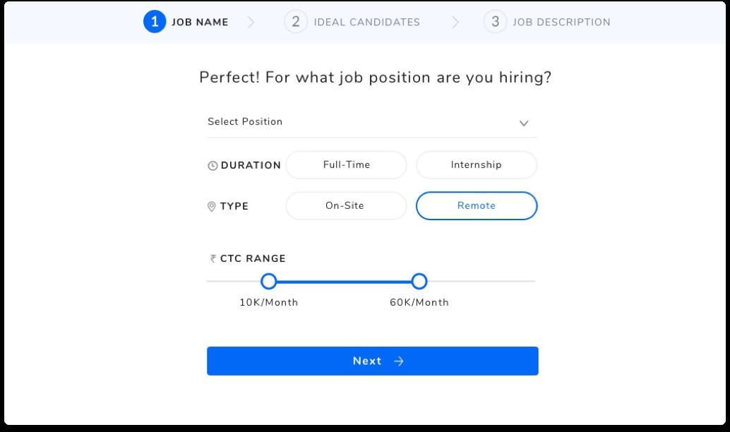 step 1 of campus hiring tool